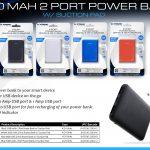 5000 MAH 2 Port Power Bank w/ Suction Pad